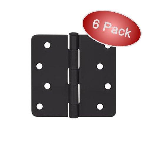 Cosmas Flat Black Door Hinge 4 Inch x 4 Inch with 14 Inch Radius Corners - 6 Pack