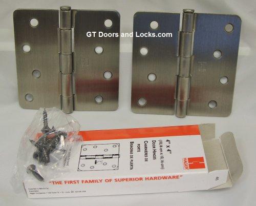 2 Pack Hager 4 X 4 Residential Antique Nickel Door Hinge with Screws