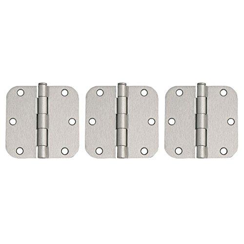 3 Pack of Round Corner Door Hinges 3 12-in x 3 12-in 58-in Radius Satin Nickel
