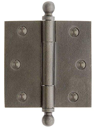 House of Antique Hardware R-04DE-120-AI-BT Cast Iron 3 Door Hinge with Ball Finials