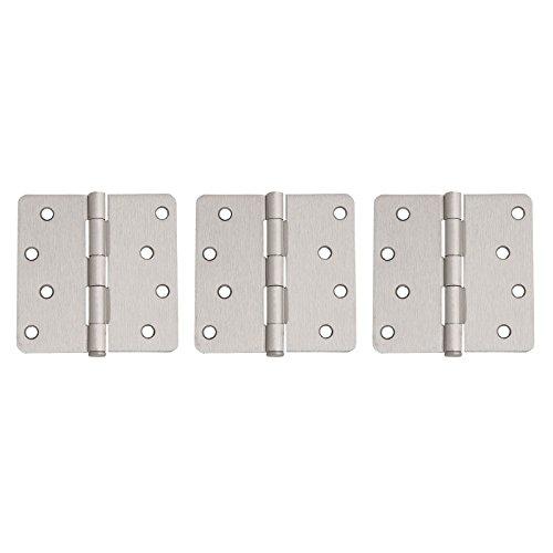 3 Pack of Round Corner Door Hinges 4 in x 4 in - 14 in Radius Satin Nickel