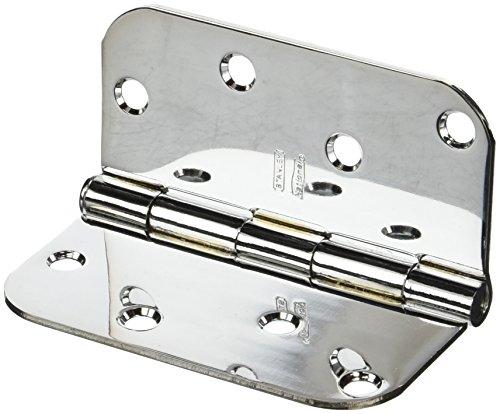 Stanley 75-0390 4 Interior Decor Round Corner Door Hinge Set of 2 Finish Bright Chrome