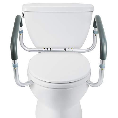 OasisSpace Medical Toilet Safety Frame - Adjustable Compact Support Hand Rails for Bathroom Toilet Seat - Easy Installation for Handicap Senior Bariatrics Elderly