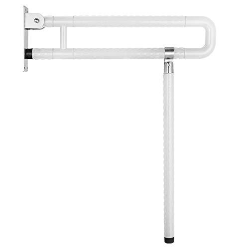 VEVOR Foldable Toilet Grab Bar Safety Frame Rails Flip-Up Skid Resistance Handicap Bathroom Seat Support Bar Toilet Hand Grips for Home Hotel Disabled Aid Pregnant Elderly R-Shape Rail White R