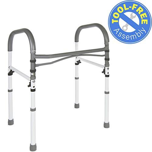 Vaunn Deluxe Bathroom Safety Toilet Rail - Adjustable Toilet Safety Frame - Medical Handrail Assist Grab bar Handle