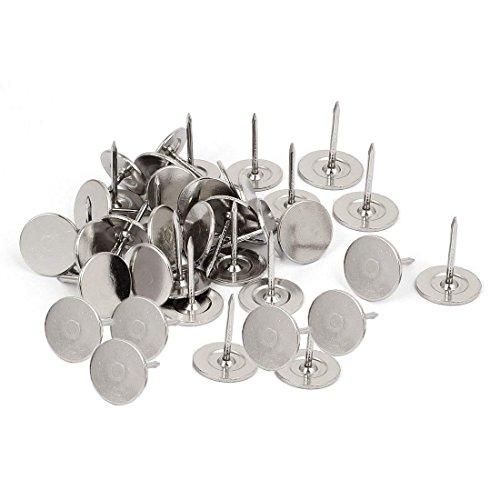 Sydien 16mm Dia Flat Head Upholstery Nails Decorative Tack Nails Push Pins Silver Tone 200 Pcs 16x20mm