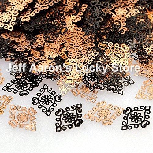 QualluxTM Black pattern design metal nail foil decals 3d nail art decoration tools sticker alloy nail sequin NEW IN