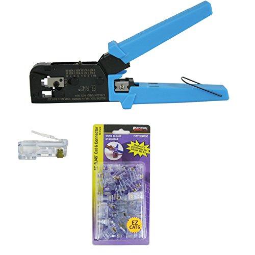 Platinum Tools 100004C EZ-RJ45 Crimper Tool EZ-RJ45 Series Cat6 50 Connectors