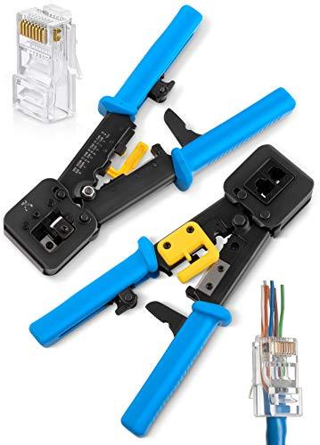 RJ45 Crimp Tool for Pass Through Connector End  EZ Cut Strip Crimp Electrical Cable  Heavy Duty Crimper for RJ11 RJ45 Plugs  Professional Networking Cat55e Cat6 Tools Accessories