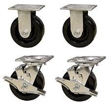 6 Heavy Duty Toolbox Caster Set with Phenolic Wheels - 1200 Lbs Capacity per Caster