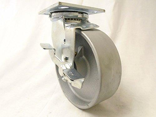 6 x 2 Swivel Caster Semi-Steel Iron Wheel with Brake 1200 lbs Heavy Duty Tool Box