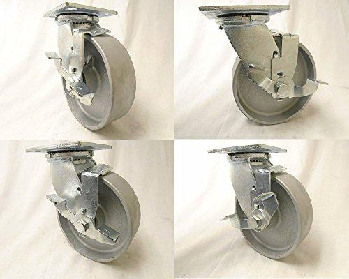 6 x 2 Swivel Casters Semi-Steel Iron Wheel Brake 1200 lbs each Heavy Duty Tool Box4