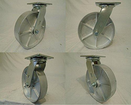 8 X 2 Swivel Casters with Semi-steel Wheel 4 1400 Lbs Each Heavy Duty - Tool Box