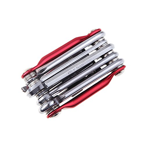Sminiker 11in1 Mountain Road Cycling Multi Repair Tool Kit Bicycle Bike Tool Set Wrench Screwdriver Chain Cutter Red Color