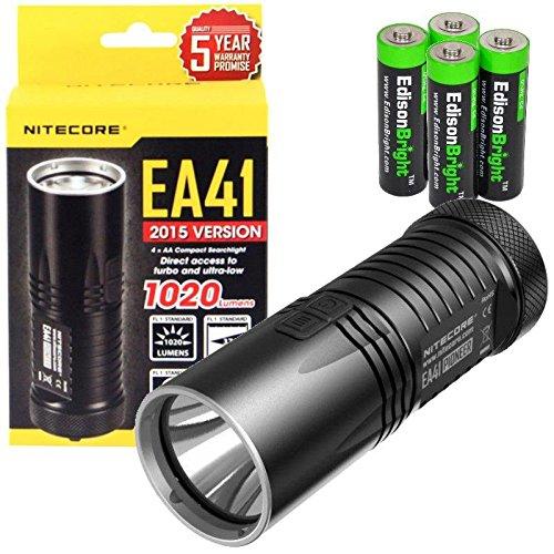Nitecore EA41 1020 Lumen CREE XM-L2 U2 LED compact flashlightsearchlight with holster and 4 X EdisonBright AA Alkaline batteries