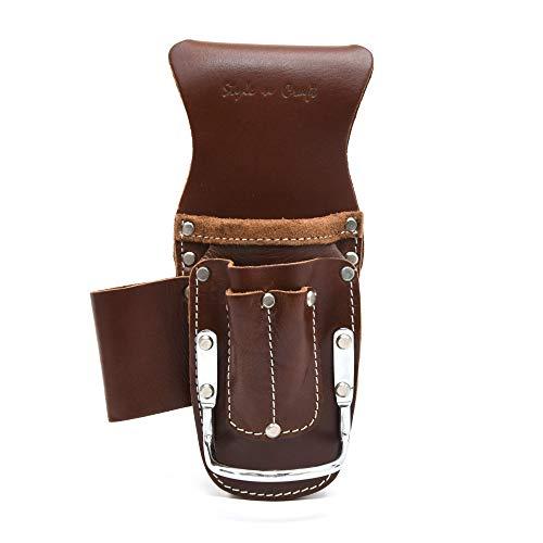 Style n Craft 98016 5 Pocket Pliers Hammer Holder in Dark Tan Top Grain Leather