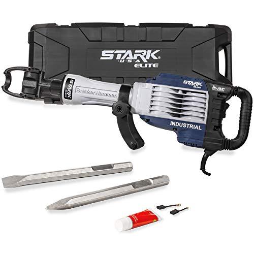 Stark Elite 1500W ATV Demolition Jack Hammer 2-Bits Point Chisel Bull Flat Concrete Drill Breaker Swivel Handle wCase