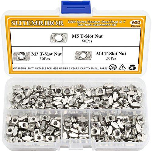 Sutemribor 160 Pcs 2020 Series T Nuts M3 M4 M5 T Slot Nut Hammer Head Fastener Nut for Aluminum Profile